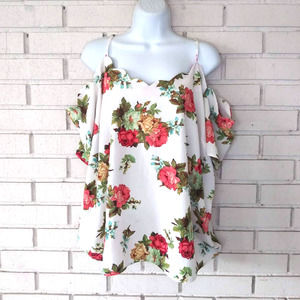 Rags to Wishes Floral Blouse Cold Shoulder